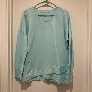 Gaiam Aqua Blue Long Sleeve Sweatshirt w/ Hem